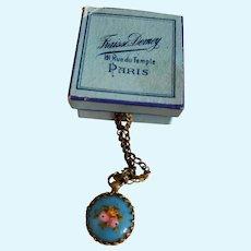 Tiny Blue Enamel Doll Watch in Paris Box