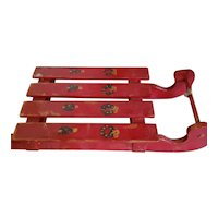 "9 1/2"" Red Wood Sled for Doll Display"