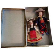 19th Century All Bisque Lilliputian Boy and Girl in Pretty Box