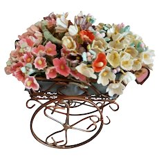 Metal Flower Cart Filled With Flowers for Doll Display
