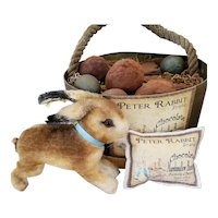 Steiff Running Bunny with Button and Tags for Doll Display