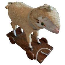 "6"" glass Eyed  Sheep on Platform for Doll display"