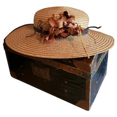 Ladies' Vintage Straw Hat for Large Doll
