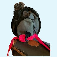 Ladies' Antique Black Felt Bonnet with Red Ribbon Ties  or for Large Doll