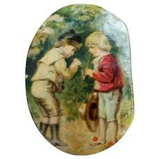 Antique Gutta Percha Snuff Box Boys Smoking on Lid