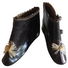 "2 3/4"" French Fashion Half Boots Dark Brown Leather Marked"