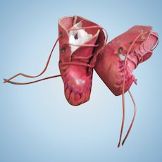 """2"""" Red Leather Booties for Antique Doll China, Mache or Baby"""