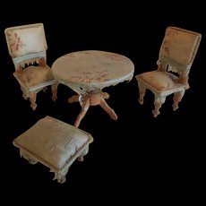 4 Pc Dollhouse Furniture  Set Silk Covered