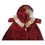 13 Long Burgundy Velvet Coat and Hat for Antique Doll