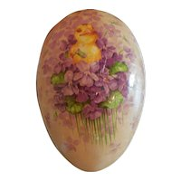 """7"""" Vintage Easter Egg with a Chick and Violets Marked Germany"""