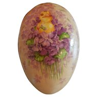 "7"" Vintage Easter Egg with a Chick and Violets Marked Germany"