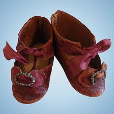 """2 1/2"""" Red Leather CM French Shoes"""