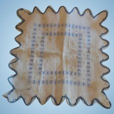 Tiny Blue Print Hanky for Antique Huret, Rohmer or other French Doll