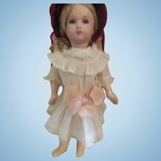 """7"""" Cotton and Lace Bebe Dress for Antique Doll"""
