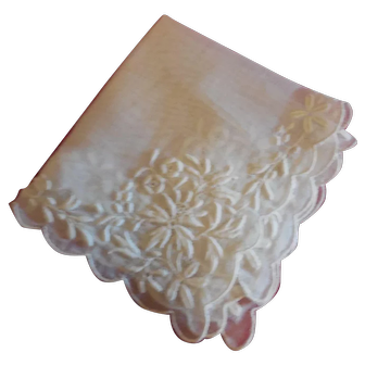 """Embroidered Fine Cotton Hanky  5 1/2""""x 5 3/4"""""""