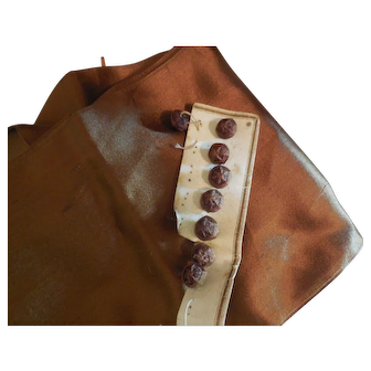 Rich Brown Ribbon and 8 Thread Buttons