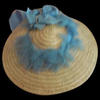 Blue Trimmed French Fashion Straw Hat