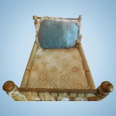 "6 3/4"" Christian Hacker Gold and White Doll Bed"
