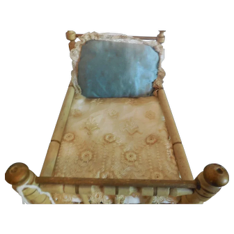 """6 3/4"""" Christian Hacker Gold and White Doll Bed"""