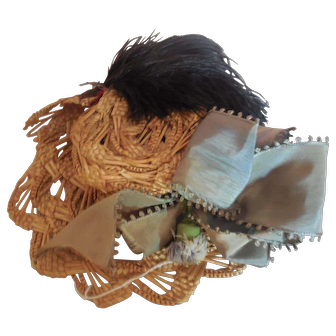 Straw Hat for Antique Doll Green Ribbon Black Feather