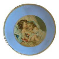 """7"""" Blue Round Box with Accessories for Antique Doll"""