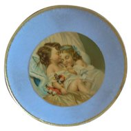 "7"" Blue Round Box with Accessories for Antique Doll"