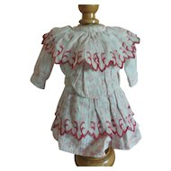 "8""Red Print Dress for Antique French or German Doll"