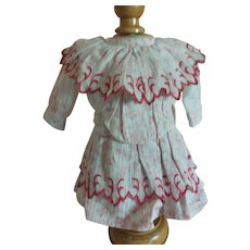 """8""""Red Print Dress for Antique French or German Doll"""