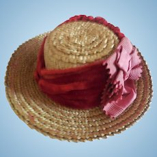 Straw Hat with Red Velvet Decoration for Antique French or German Bebe