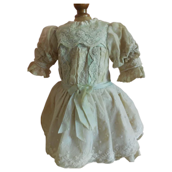 "11 1/2"" Lace Dress with Pale Blue/Green Ribbon Trim for French or German Doll"