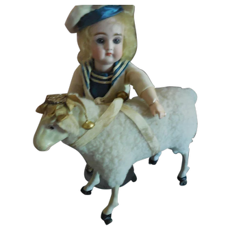 Glass Eyed Lamb on Wheels with Ribbon and Bells Decoration