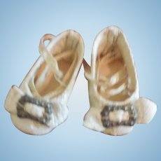 Tiny White Leather Shoes for All Bisque or Tiny Bebe