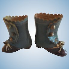 """Tiny 1 5/8"""" French Fashion Boots Blue and Brown"""