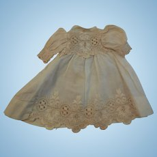 "6 1/2"" Cotton Dress with Embroidered Trim"