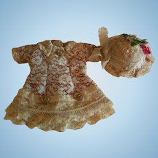 """3 1/2"""" Artist Made Tiny Dress and Hat for All Bisque"""