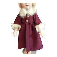 "11"" Burgundy Wool Coat with Fur Trim"