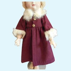 "11"" Burgundy Wool Coat with Fur Trim"