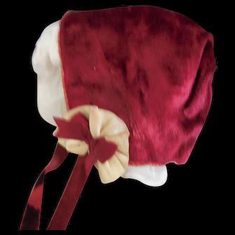 Red Velvet Bonnet for Large Doll
