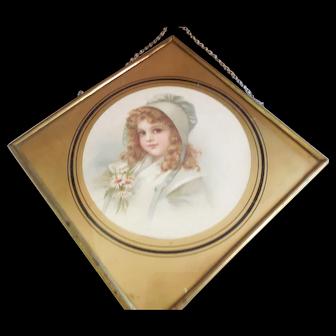 Vintage Flue Cover Diamond Shape Lovely Girl