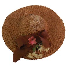 50's Small Straw Hat with Brown Ribbon and Flowers