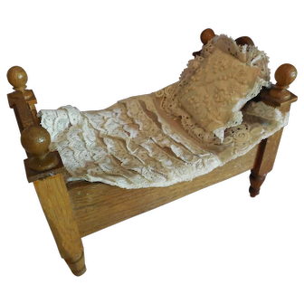 """8"""" Wood Bed for Doll Display"""