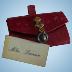 "1 1/2"" Tiny Red Leather French Fashion Purse with Calling Card"