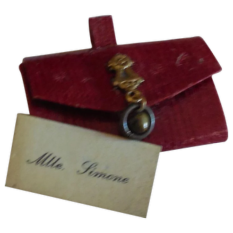 """1 1/2"""" Tiny Red Leather French Fashion Purse with Calling Card"""
