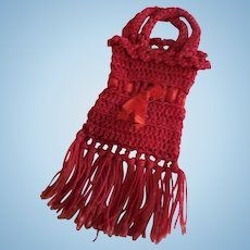 Tiny Red Crocheted Purse for French Fashion Doll