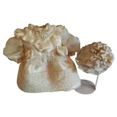 "Artist Made Lace and Silk Dress and Hat for 9"" Bisque Doll"