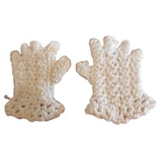 Tiny Crocheted Gloves for Antique Doll