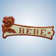 Blue Enamel BEBE Pin. 1 1/4""