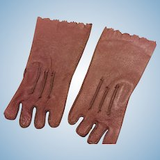 Brown Leather Doll gloves
