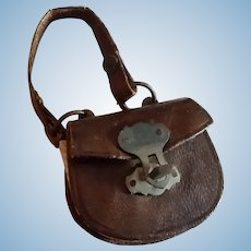 Tiny Brown Leather Fashion Doll Purse