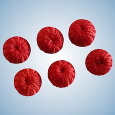 6 Red Thread Buttons for Doll Costuming
